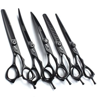 Kit de herramientas de aseo para mascotas tijeras de peluquería canina de 7 pulgadas tijeras de peluquería para mascotas tijeras de adelgazamiento tijeras curvas