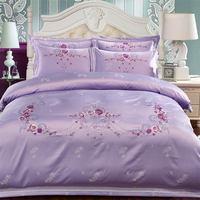 Papa&Mima Purple Satin Cotton Embroidery Bedding Set Queen King Linens Sheet Comforter Cover Pillow Sham