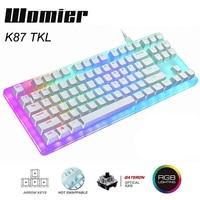 Womier 87 schlüssel K87 Heißer Swap RGB Gaming Mechanische Tastatur 80% Transluzenten Glas Basis Gateron Schalter mit Kristallinen Basis
