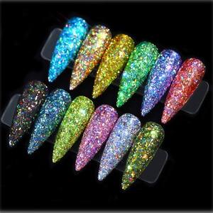 Image 5 - 12pcs/set Nail Glitter Powder Dust Iridescent Flakes Sequins Gold Silver Super Shining Paillette Nail Art Manicure Decorations