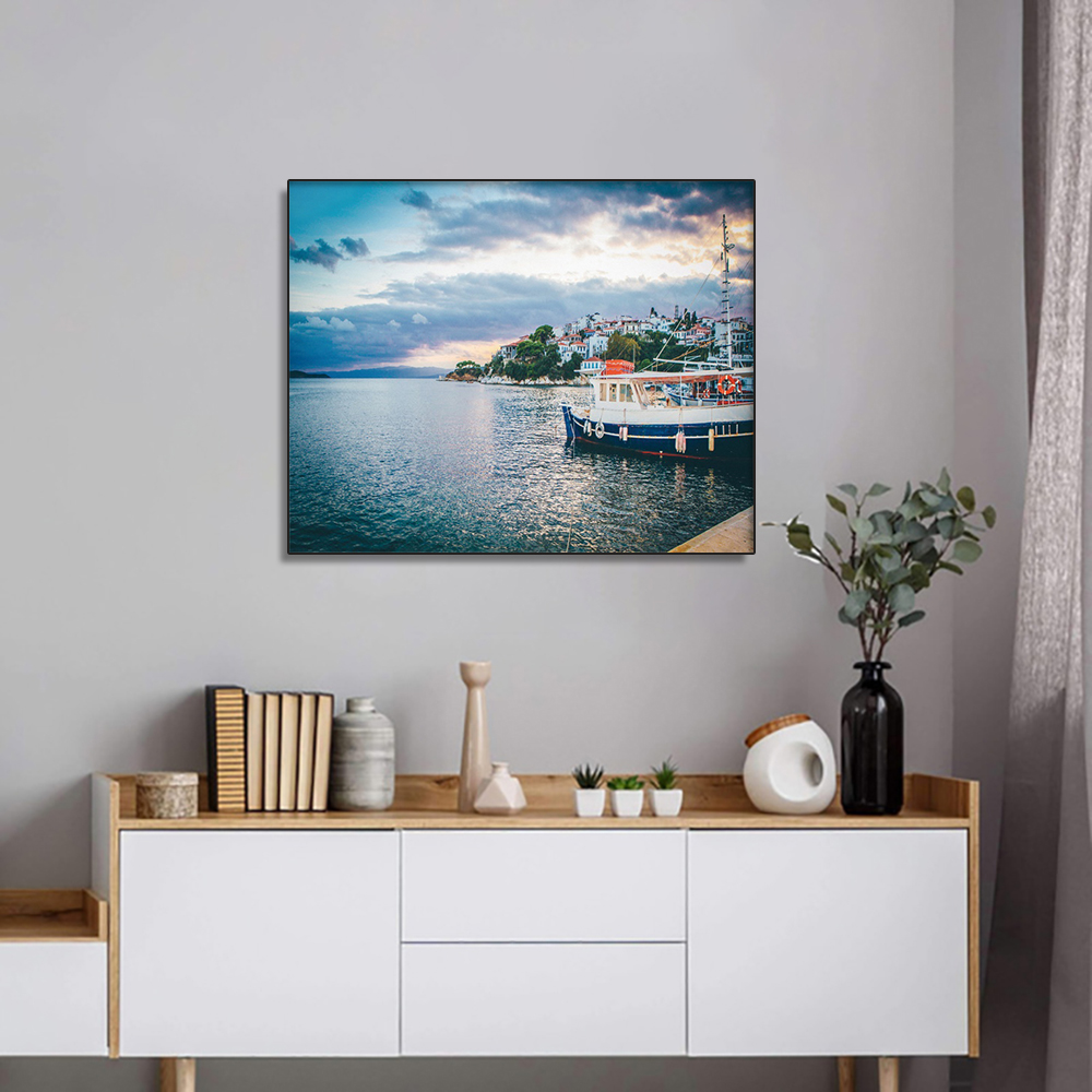 Laeacco Waterfront View Posters and Prints Modern Home Decoration Seascape Wall Art Decorative Picture for Living Room Decor image