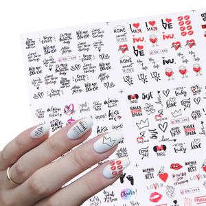 12 Designs Love Cute Nail Water Sticker Charming Letters Valentine Sliders Sexy Girl Watermark Wraps Tips BEBN1489-1500
