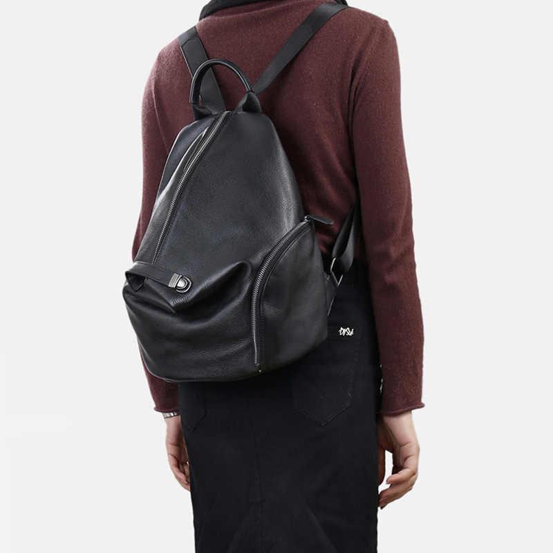 Zency 100% Lederen Dagelijkse Toevallige Rugzak Voor Vrouwen Klassieke Zwarte Student Schooltas Vintage Dame Knapzak Hoge Kwaliteit