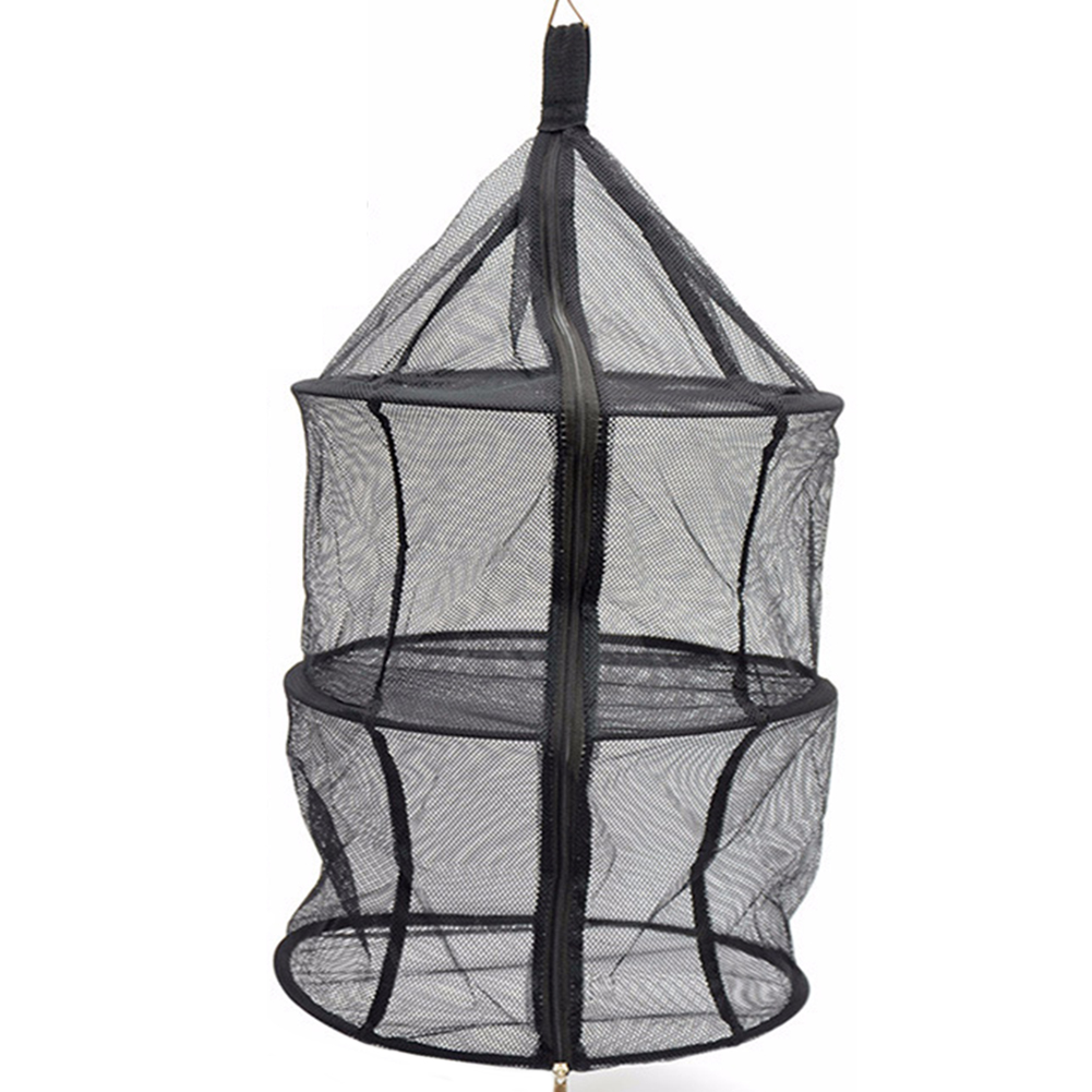 Mesh Zipper Up Nylon Large Capacity Wear Resistant Fishing Foldable Outdoor Camping 3 Layer Storage Net