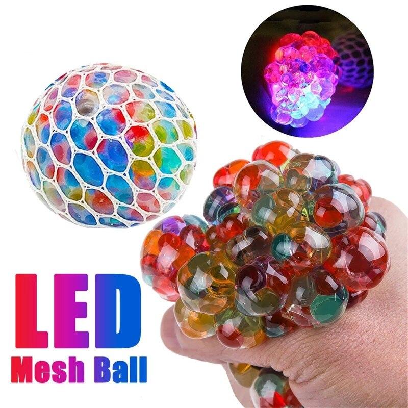 1 pçs led engraçado uva squeeze bola malha stress alívio brinquedo para crianças adulto brilho no escuro brinquedos ansiedade alívio do estresse brinquedo