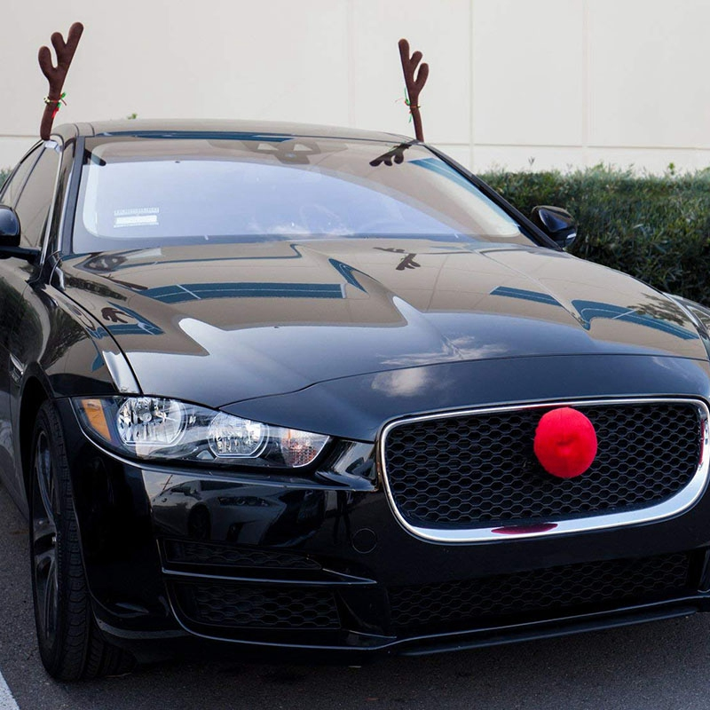 Type-1 Xmas Gift Set FEIJI Car Reindeer Antlers /& Nose Window Roof-Top /& Grille Rudolph Reindeer Jingle Bell Christmas Costume Auto Accessories Decoration Kit Best for Car SUV Van Truck