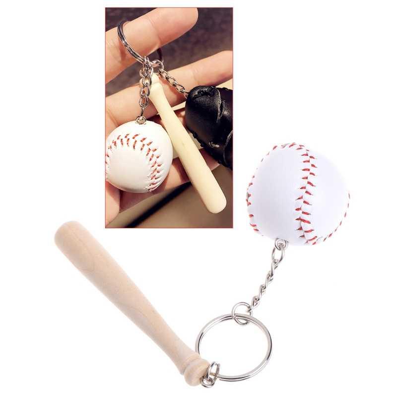 Llavero deporte de béisbol llavero colgante de madera bolso de coche decoración regalos únicos W2952001