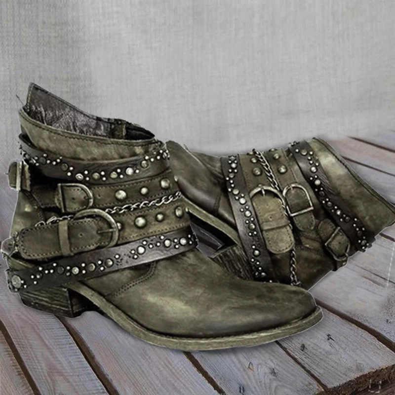 Botas de tornozelo das mulheres sapatos de salto baixo vintage plutônio couro gladiador botas rebites fivela deco mulher mujer zapatos botas mujer 2020