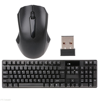 2.4GHz Wireless Keyboard Optical Mouse Combo Kit For Laptop Desktop Computer logitech media combo mk200 full size keyboard and high definition optical mouse