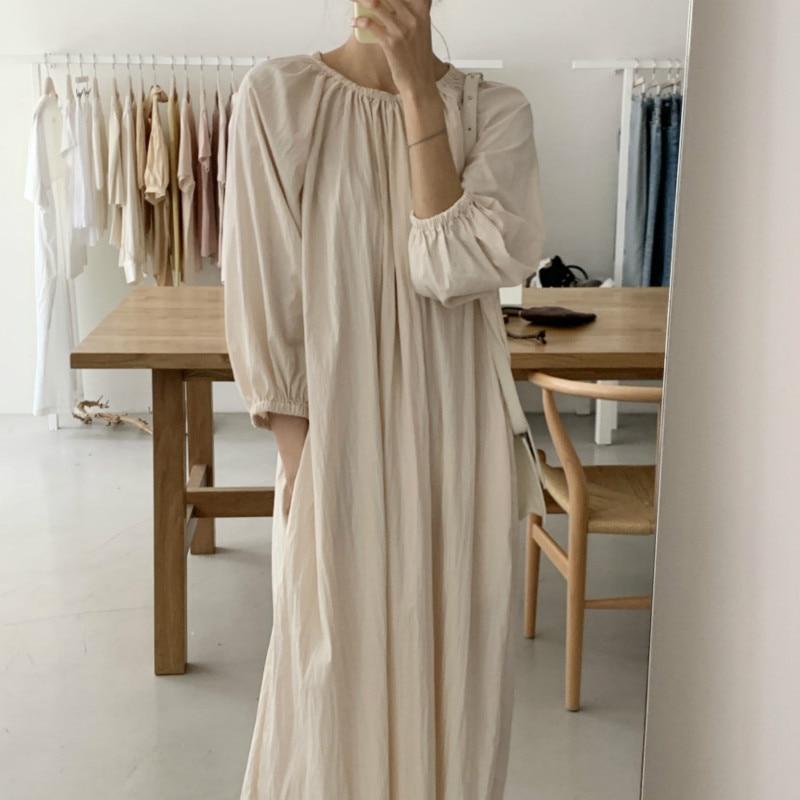 2020 Women Autumn Beige Loose Long Brief Folds Dress Three Quarter Sleeve Pullover Midi Dresses Elastic Round Neckline