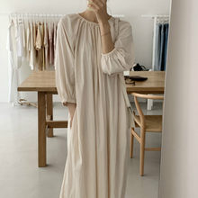 2020 Women Autumn Beige Loose Long Brief Folds Dress Three Quarter Sleeve Pullover Midi Dresses Elastic Round Neckline