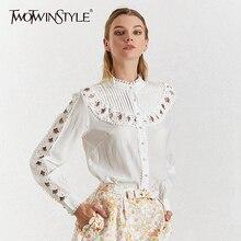 TWOTWINSTYLE выдалбливают Лоскутная Женская рубашка стоячий воротник фонари рубашки с длинными рукавами Блузка женская Летняя мода Новинка