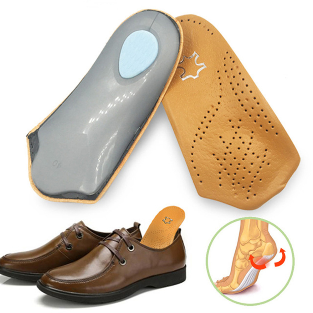 3/4 Length Leather Insole Flat Foot Orthotic Insoles Arch Support 2.5cm Half Shoe Pad Orthopedic Insoles Foot Women Care Unisex