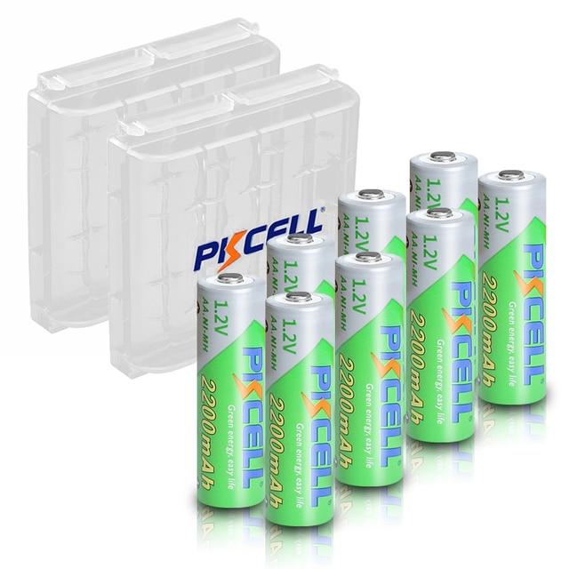 8 adet X PKCELL AA düşük kendinden deşarj pil Ni MH 1.2V 2200mAh pil AA şarj edilebilir pil 2 adet pil tutma kutusu