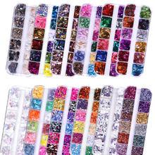 12 цветов смешанный набор стразы для дизайна ногтей ювелирные изделия измельченный камень ультратонкие воробьи осколки Блестки для ногтей ...