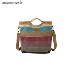 Moda kaliteli chengguan1078 kadın kanvas çanta dayanıklı Satchel çanta omuzdan askili çanta Retro çok fonksiyonlu kadın çantası alışveriş çantası