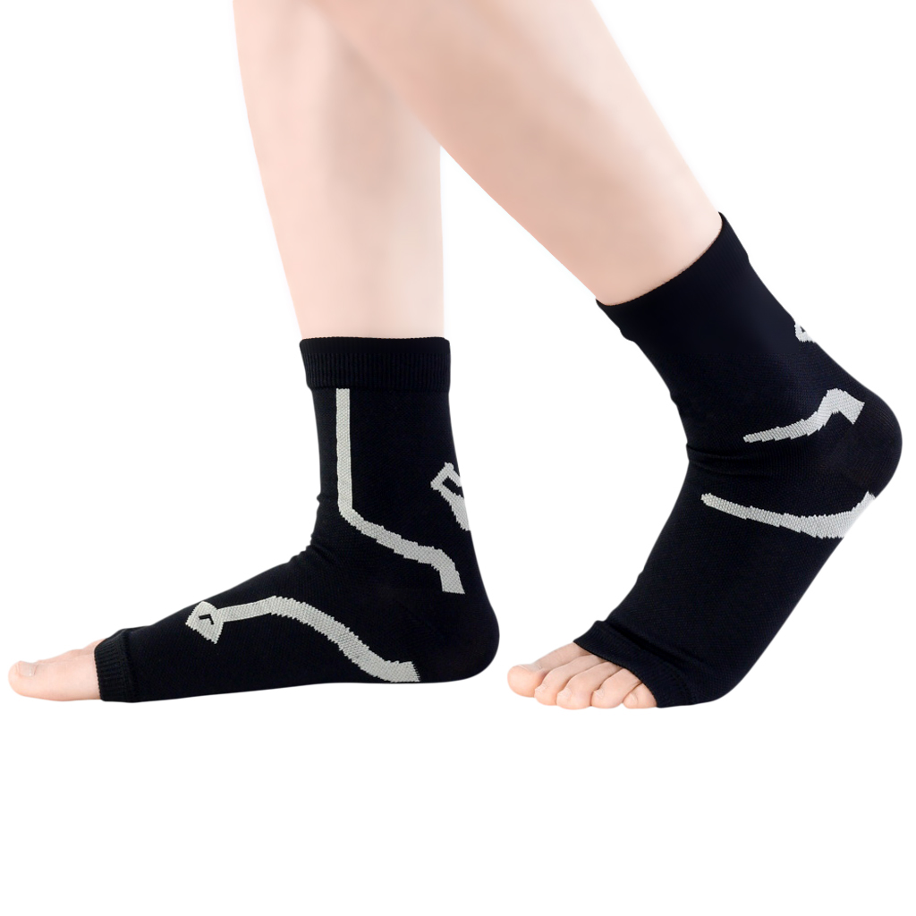 1 Pair Women Men Foot Compression Sleeve Sock Ankle Support Brace Wrap Guard for Running Jogging Basketball Sports