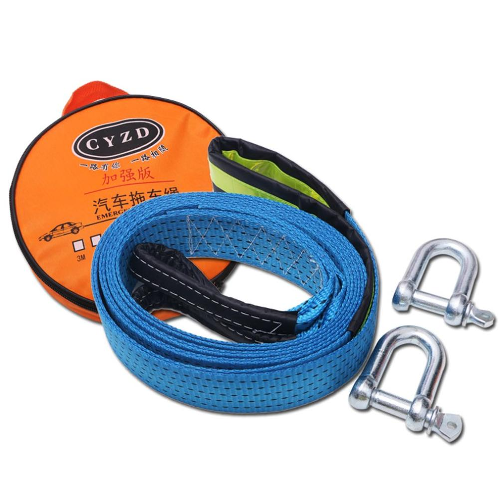 Universal Double-layer Car Tow Rope 5 Meter 8 Tons Luminous Trailer With Grab Hook U-shaped Hook Pull Rope
