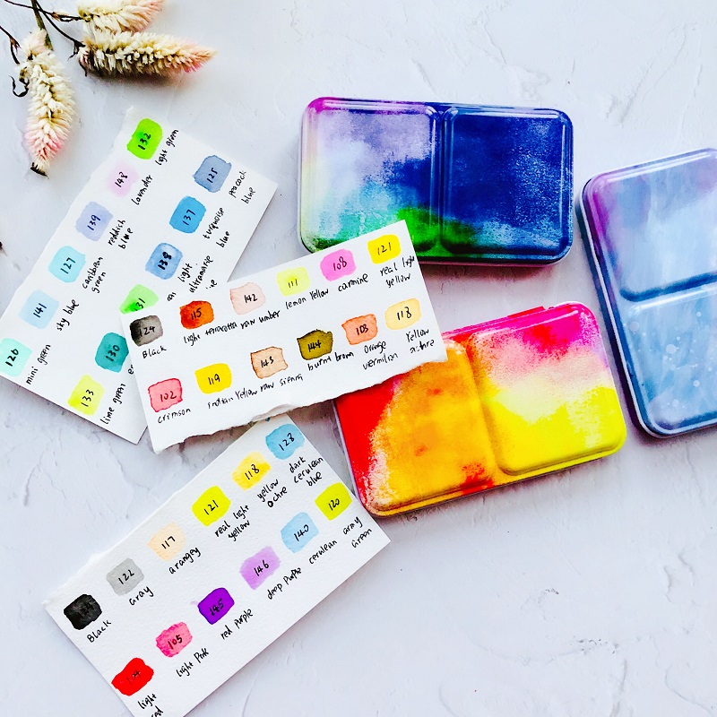 Starry Sky Solid Watercolor Paints Box Set Acuarelas Pigment Set Art Supplies Travel Hand Book Hand Drawing Illustration Gift