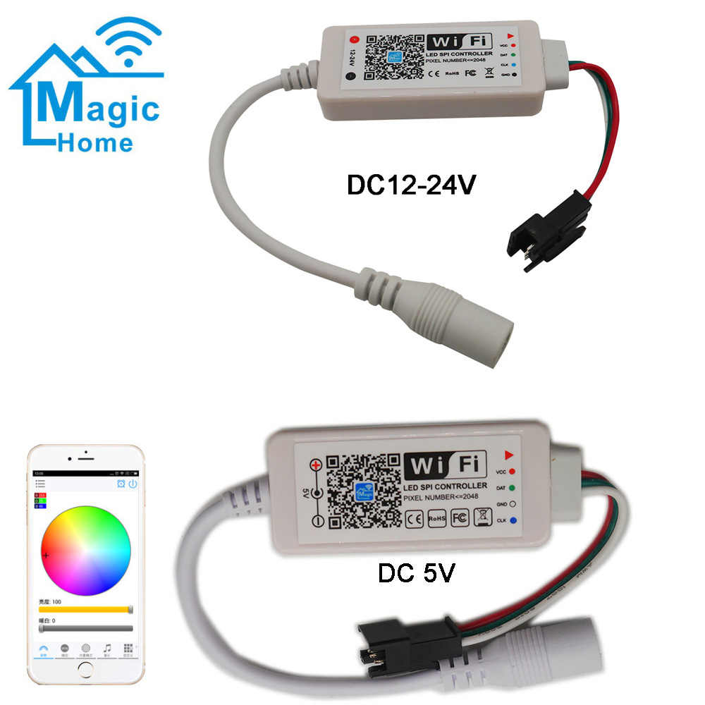 DC5V DC12-24V Rumah Ajaib LED SPI Controller Addressable 2048 Pixel Mini Wifi Controller untuk WS2811 SK6812 WS2812B LED Strip