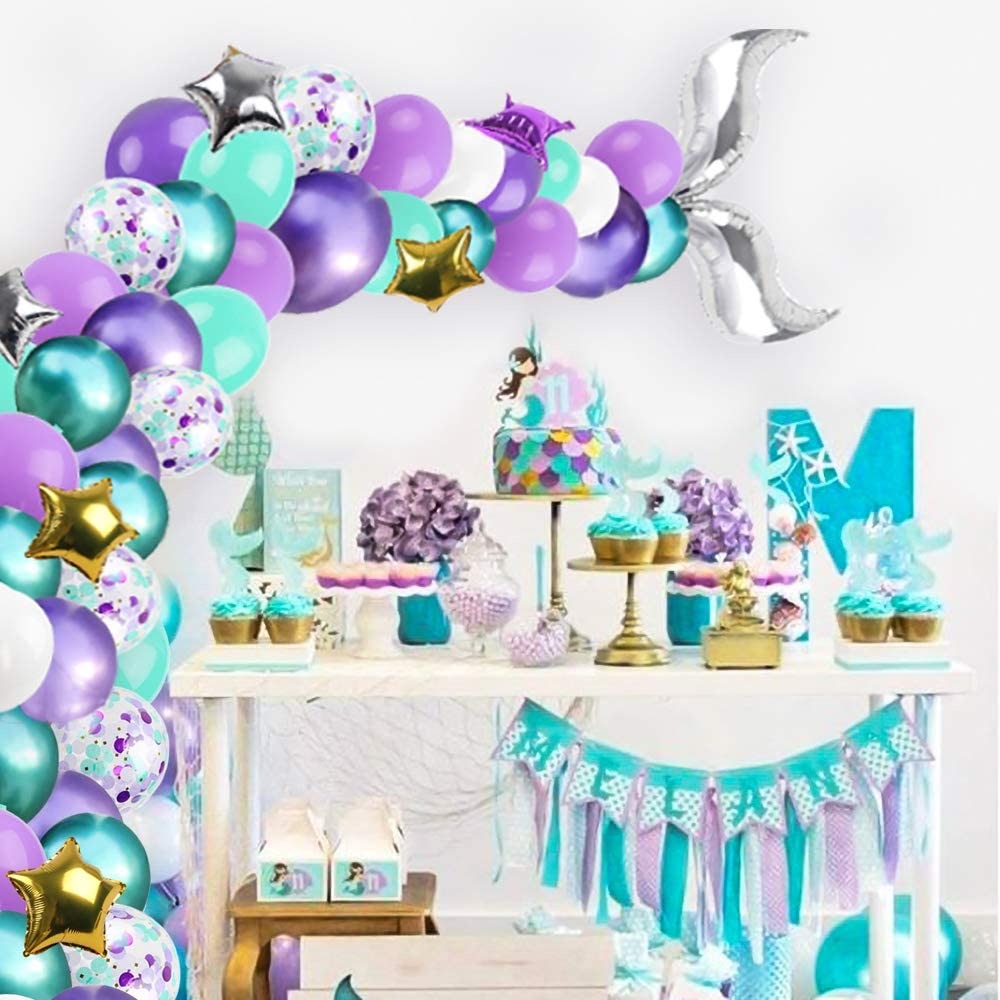 42 шт Русалка Вечерние шары маленькое одеяло «хвост русалки» в виде шара с цифрой для девочек на день рождения океан морская baby shower вечерние ...