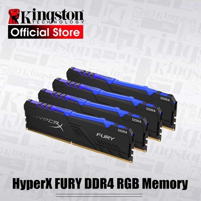 キングストン HyperX フューリー DDR4 RGB メモリ 2666 MHz 3200MHz DDR4 CL15 DIMM XMP 8 ギガバイト 16 ギガバイトメモリア Ram ddr4 デスクトップ用メモリ Rams