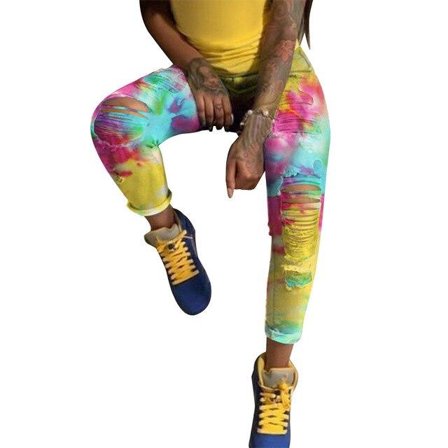 Женские джинсы карандаш с принтом высокой талией
