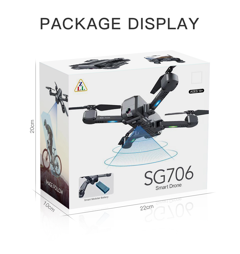 Quadcopter hgiyi sg706 rc πτυσσόμενο drone 4k hd κάμερα msow
