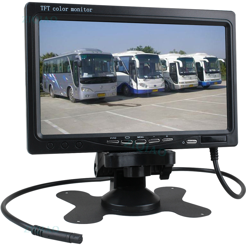 ZIQIAO 7 Inch Lcd Truck Bus Reverse Parking Monitor for IR Camera Vehicle Monitor Display System Set title=