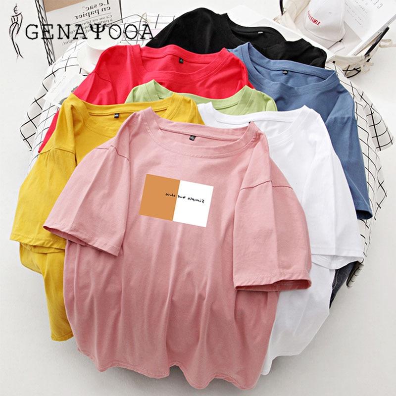 Genayooa Loose T-shirt Printing Korean Vintage Oversized T Shirt Women White Cotton Plus Size Harajuku Tee Shirt Femme Summer
