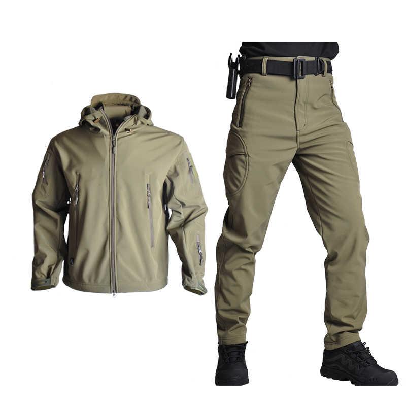 TAD мужская куртка для охоты с мягкой оболочкой, тактические куртки, армейская Водонепроницаемая камуфляжная одежда для охоты, костюм из кожи акулы, военная куртка + штаны