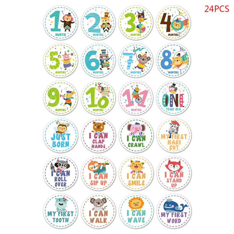 24 Pcs/set Baby Month Sticker Photography Milestone Memorial Newborn Children Commemorative Card Number Photo Props Accessories