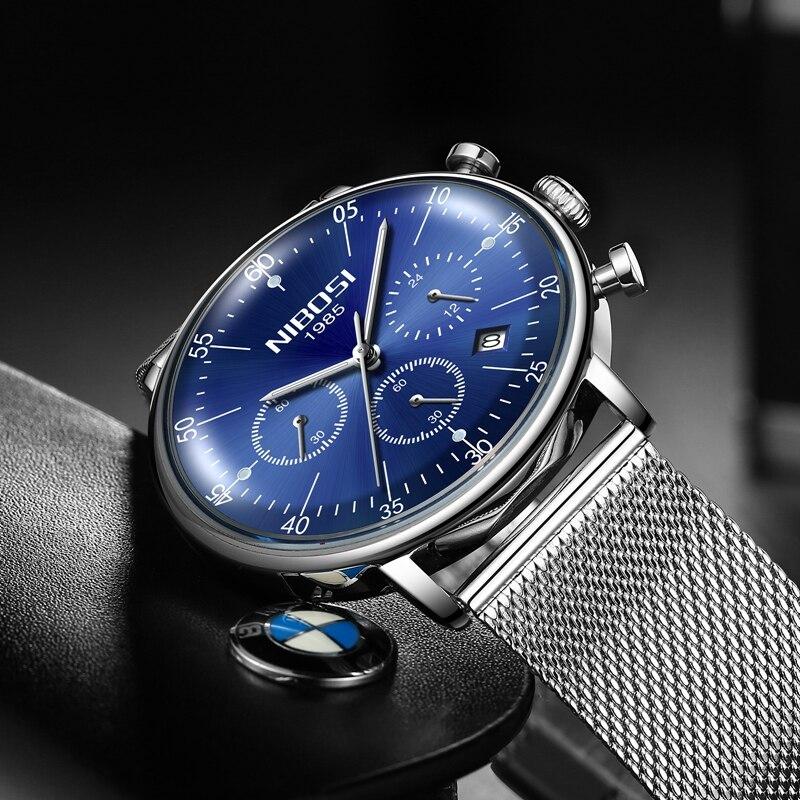 NIBOSI Mens Watches Quartz Watch Unisex Ultra Thin Wristwatch Fashion Luxury Waterproof Chronograph Date Display Mesh Belt Clock