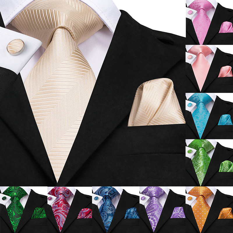 100% Silk Woven Men Tie Necktie 8.5cm New Champagne Gold Tie Handkerchief Cufflinks Set Classic Wedding Pocket Square Tie Set