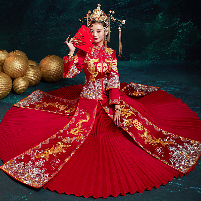 Luxury Ancient Royal Red Chinese Wedding Dress Traditional Bride Embroidery Cheongsam Women Oriental Dragon Phoenix QiPao Party