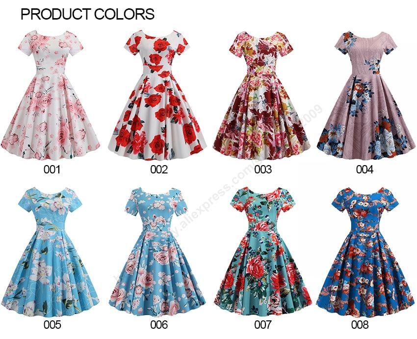 Summer Floral Print Elegant A-line Party Dress Women Slim White Short Sleeve Swing Pin up Vintage Dresses Plus Size Robe Femme 41