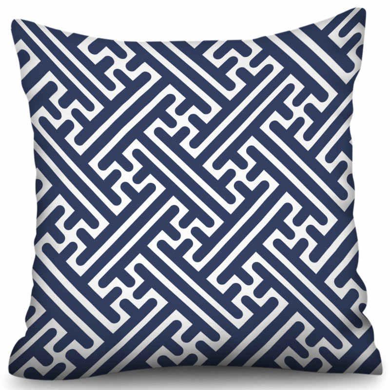 Blu Geometria Fodere per Cuscini Nordic Semplice Geometrica Decorativa Coperte e Plaid Cuscini Fodere per Cuscini s per Divano Poliestere di Cotone