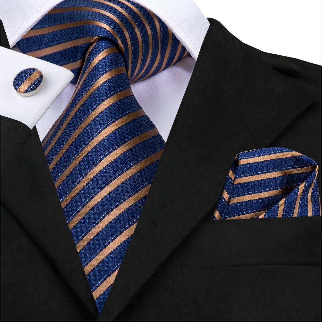 Hi-Tie Men Silk Tie Blue Stripe Ties Gold Twill Necktie Designer Cravat Business Style Navy Blue Tie Set For Party Dropshipping