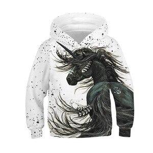 Image 3 - Bianco Cavallo Unicorno Felpa Con Cappuccio Con Cappuccio Costume Delle Ragazze Del Manicotto Lungo Felpe Bambini Streetwear Autunno casual Vestiti Del Bambino Della Ragazza