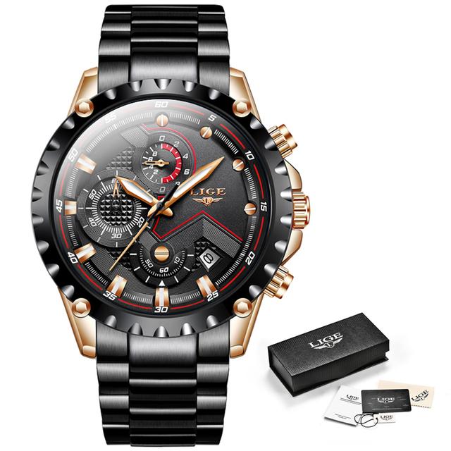 LIGE New Watch Men Top Brand Luxury Mens Watches Sports Full Stainless Steel Waterproof Business Quartz Watch Relogio Masculino