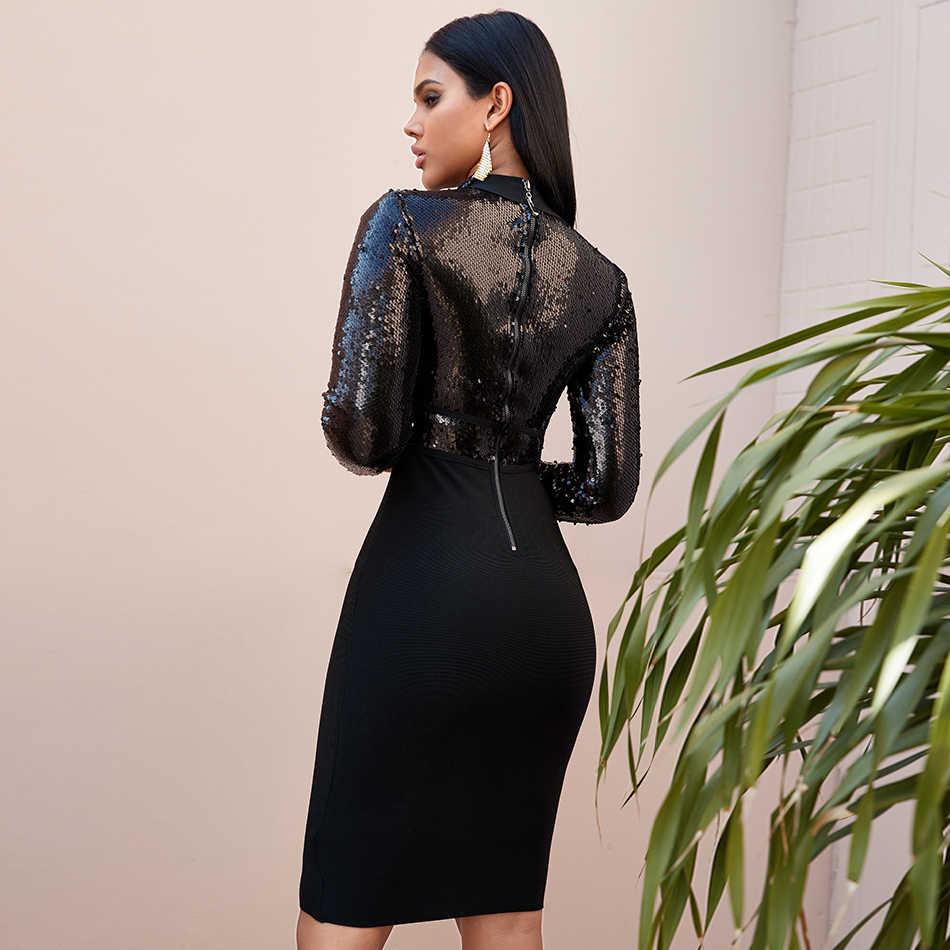2019 חורף ארוך שרוול נצנצים נשים תחבושת Bodycon שמלת אביב חדש סקסי סלבריטאים ערב Midi שמלות לילה המפלגה Vestidos