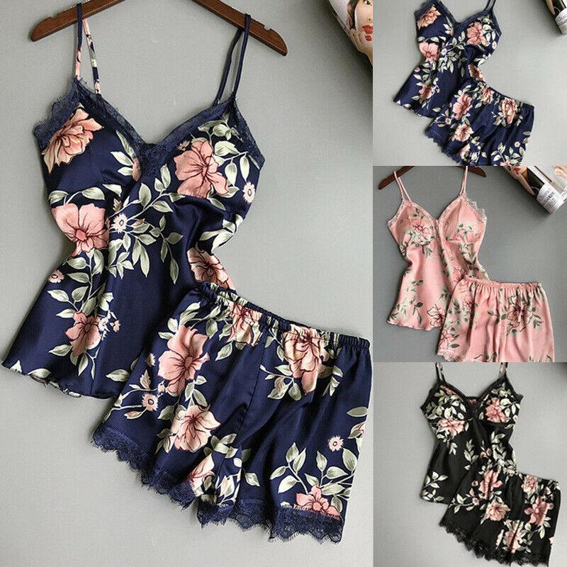 Pink Pajama Set Printed Floral Sleepwear Pijama Sexy Lace Womens Clothing V-neck Nightwear Pyjamas Short  Plus Size 2020