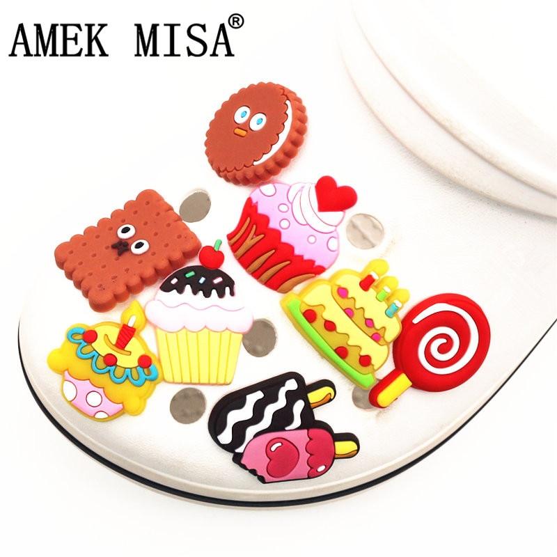 Novelty Garden Shoe Charms Accessories Cute Cake/Ice Cream/lollipop Shoe Buckle Decoration For Croc Jibz Kids Party X-mas Gift
