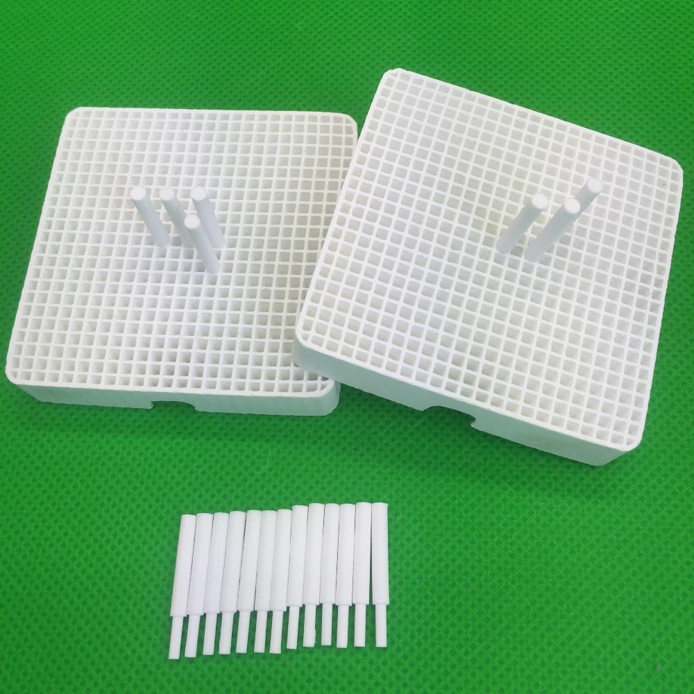 2pcs Dental Lab Honeycomb Square Firing Trays With 20 Zirconia Pins Freeship