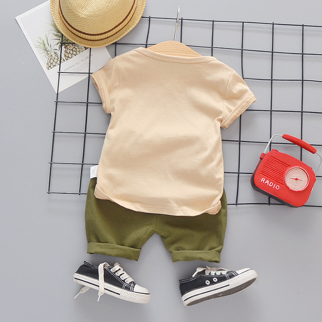Baby Boys Clothing Toddler Boy 2020 Cute Summer Casual Clothes Set Cartoon Dog Top Green Shorts Suits Kids Clothes 1-4 Years 1