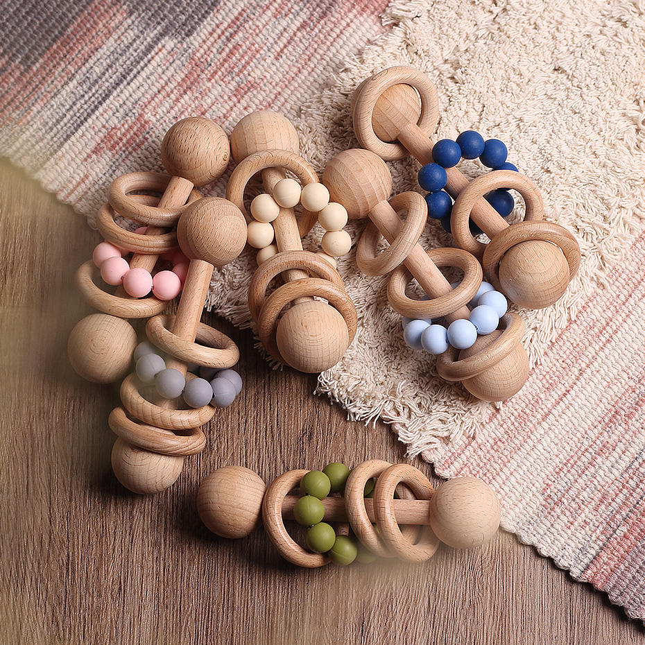 1PC Wooden Teether Rattle Montessori Activity Baby Toys Wooden Blank Ring Teething Toys Baby Nursing Gifts Toys