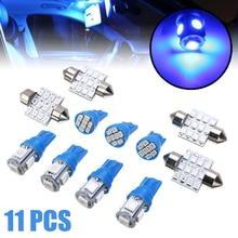 Mayitr 11pcs/set Blue LED T10 W5W 12V 31MM 12SMD Festoon Car Interior Dome Map Tag Light Lamp Bulb Set