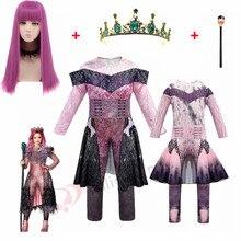 Rosa audrey trajes menina trajes de halloween para crianças feminino fantasia festa fantasia evie descendentes 3 mal fantasias cosplay fantasia