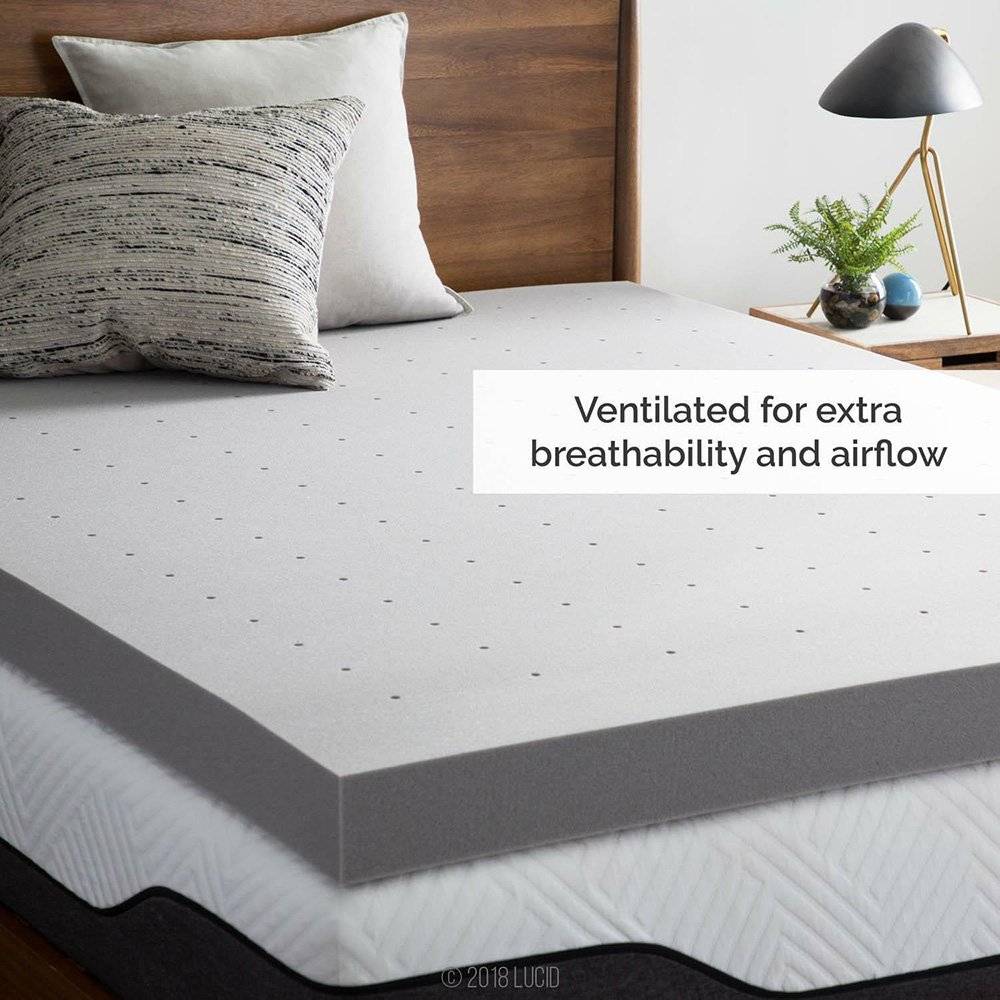 3/4 Inch Thick Breathable Mattress Topper Charcoal Bamboo Mattress Topper