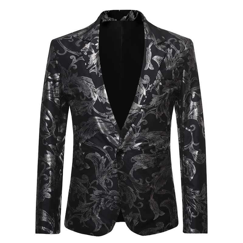 Black Paisley Suit Blazer Men 2020 Brand Nightclub Mens Blazer Jacket Business Formal Dress Blazers Stage Clothes For Singers